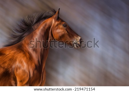Drawing a red horse, portrait - stock photo