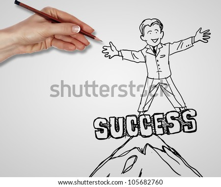 Drawing about creativity and success in business - stock photo