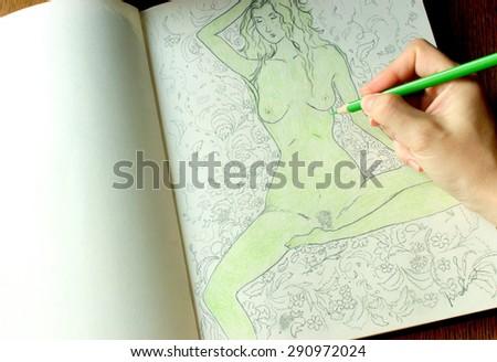 Drawing album - stock photo