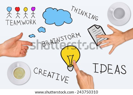 Drawing and photo collage expressing concept of creative ideas, on white background