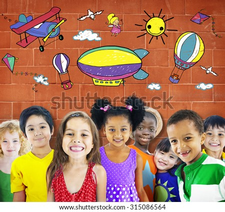 Drawing Artistic Childhood Kids Playful Concept - stock photo
