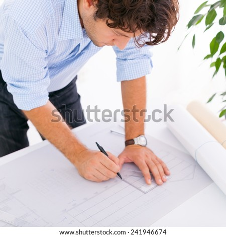 Drawing blueprints - stock photo
