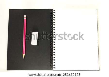 Drawing book on white isolated /A pencil and the eraser