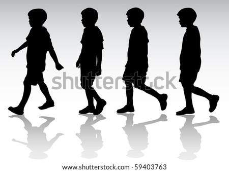 drawing boy in motion. Silhouette on white background - stock photo