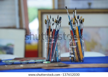 Drawing brush on real situation - stock photo
