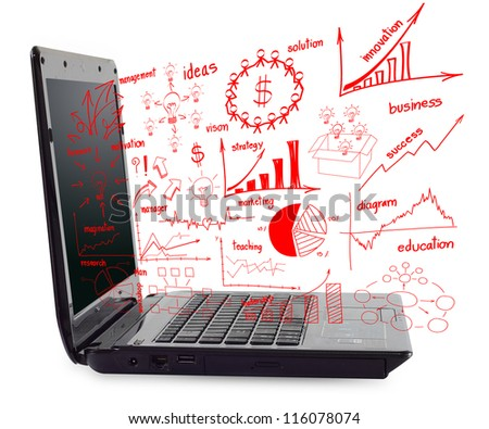 drawing business idea concept With computer laptop, isolate on white background