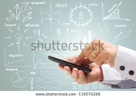 drawing business plan concept With phone tablet touch computer gadget - stock photo