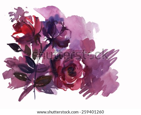drawing by hand on wright paper beautiful watercolor background bouquet of roses, flowers. Greeting card - stock photo
