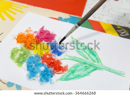 drawing by paints - stock photo