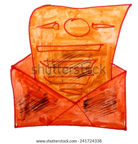 drawing cartoon a children watercolor envelope on a white background - stock photo
