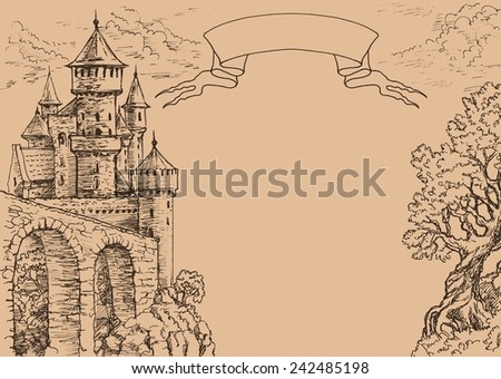 Drawing castle and old tree. Card with place for inscriptions. Heraldic ribbon for header. - stock photo