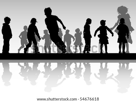 drawing child in motion. Silhouette on white background - stock photo
