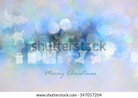 Drawing Christmas tree, star, gift box, fire ball, candle, garland, bell, maple and sock with blue bokeh backgrounds.