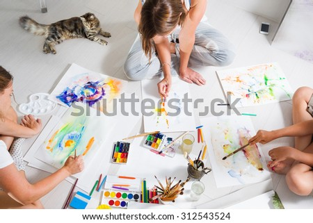 drawing class - stock photo