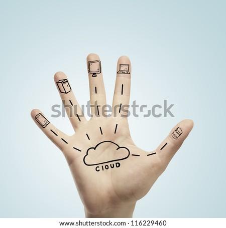 drawing cloud computing on hand - stock photo