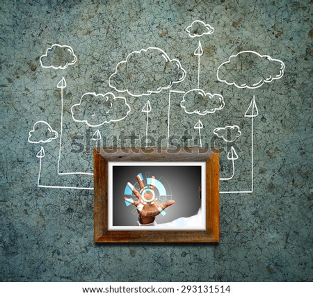 drawing cloud network - stock photo