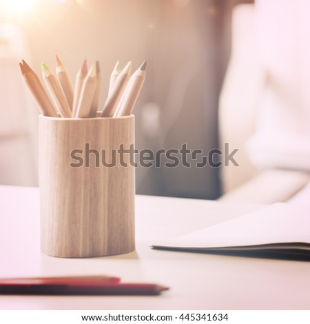 Drawing Colour Pencil Creative Concept - stock photo