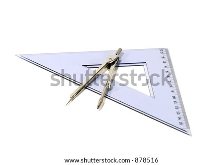 Drawing compass and triangle on white background