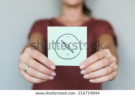 drawing compass in hand image - stock photo