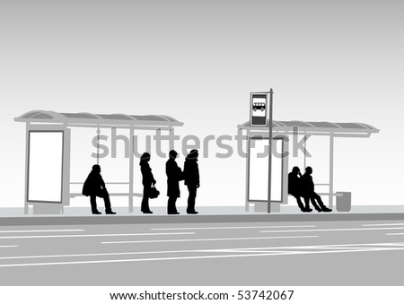 drawing crowds at public transport stop - stock photo