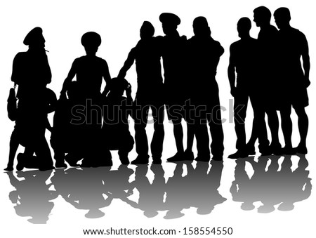 drawing crowds people on street - stock photo