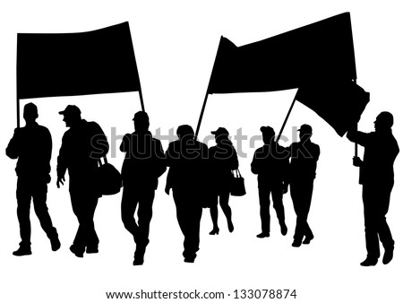 drawing crowds with banners and flags - stock photo