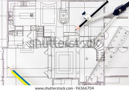 Drawing design home interior. - stock photo