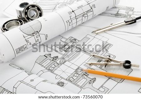 Drawing detail and drawing tools - stock photo