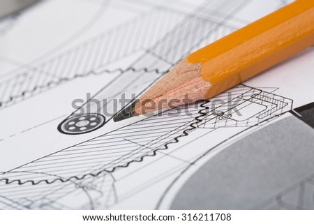 Drawing detail and pencil close-up - stock photo