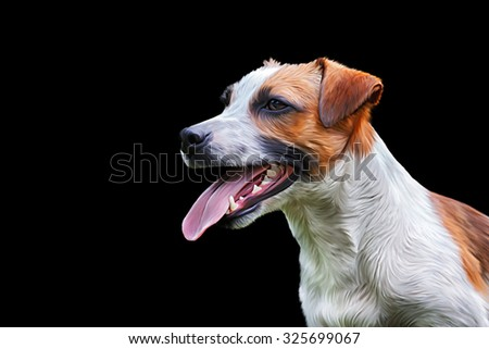 Drawing Dog Jack Russell Terrier, Hand-drawn, portrait on a black background
