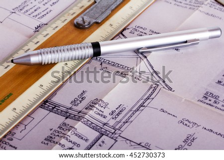 Drawing equipment on detailed architects house plans