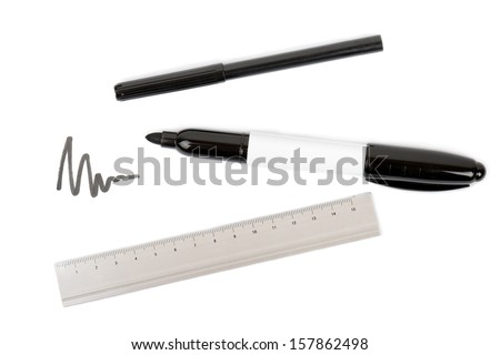 drawing equipment pens and a ruler on a white background - stock photo
