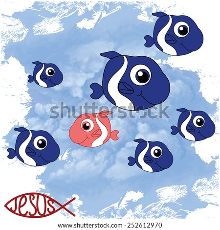 drawing fish against the sky - stock photo