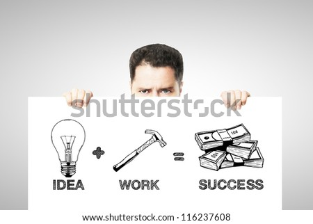 drawing formula success on white poster - stock photo