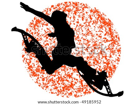drawing girl on stilts in a jump. Silhouette in the sun