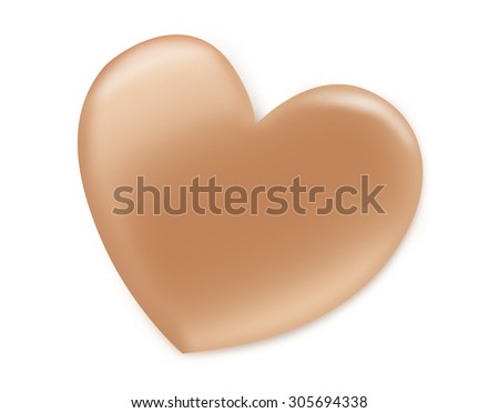Drawing heart shape with makeup foundation cream on isolated background. - stock photo