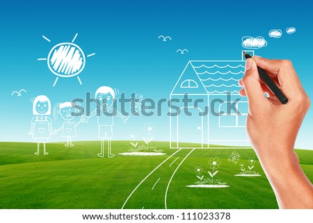 drawing his family by pen on green grass and blue sky - stock photo
