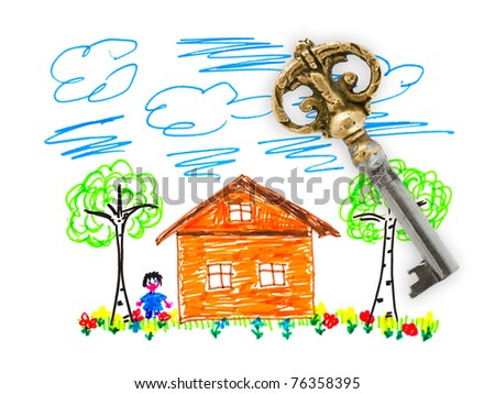 Drawing house and key isolated on white background - stock photo