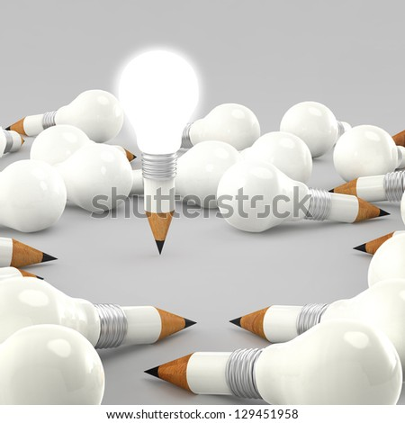 drawing idea pencil and light bulb concept creative - stock photo
