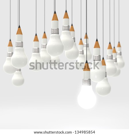 drawing idea pencil and light bulb concept creative and leadership as concept - stock photo