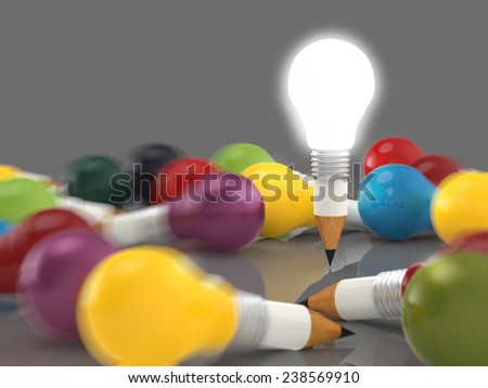 drawing idea pencil and light bulb concept creative and leadership concept - stock photo