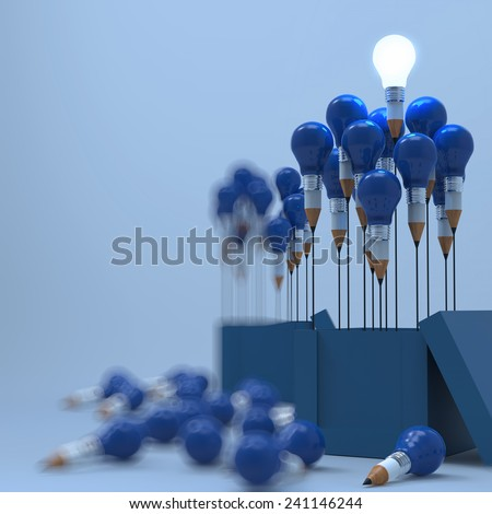 drawing idea pencil and light bulb concept outside the box as creative and leadership as vintage style - stock photo