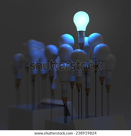 drawing idea pencil and light bulb concept outside the box as creative and leadership concept - stock photo