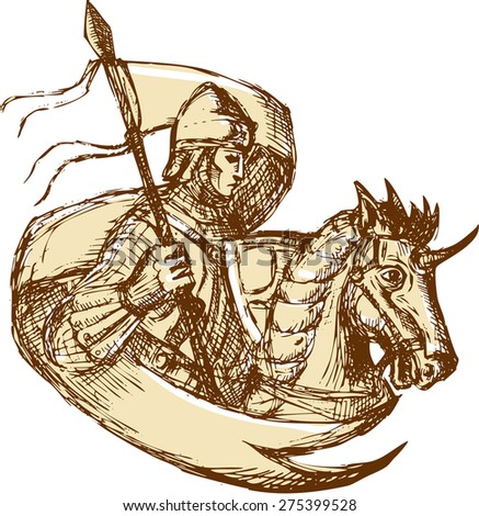 Drawing illustration of knight in full armor riding horse steed holding flag viewed from the side set on isolated white background.  - stock photo