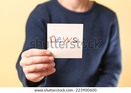 drawing image in hand new text - stock photo