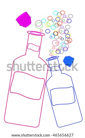 Drawing isolated White bottle with bubbles
