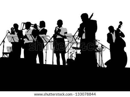 drawing jazz musicians on the stage - stock photo
