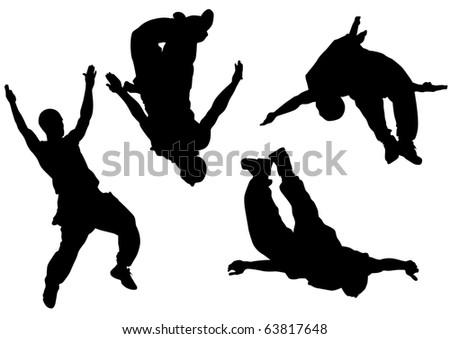 drawing jumping and climbing men. Silhouettes athletes - stock photo