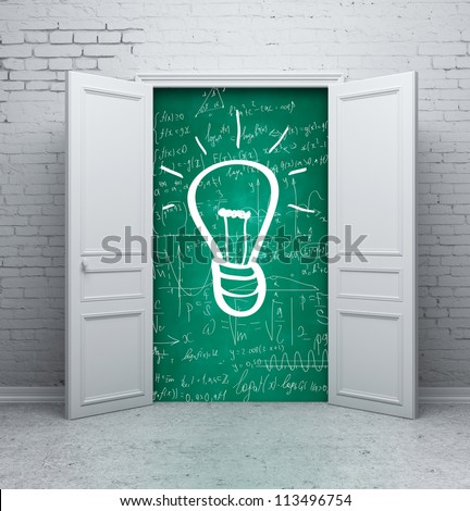 drawing lamp on school board in door - stock photo