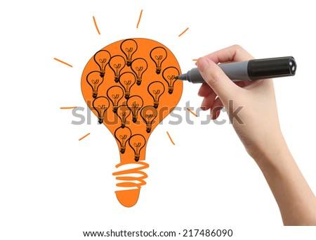 Drawing light bulb - stock photo